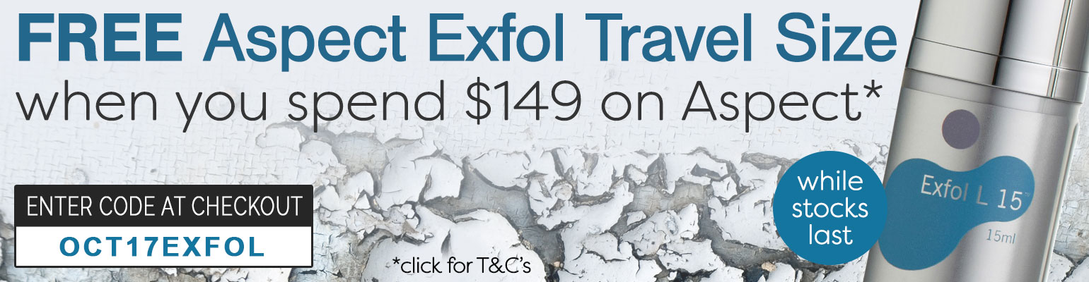 Free Aspect Exfol Travel Size when you spend $149 on Aspect