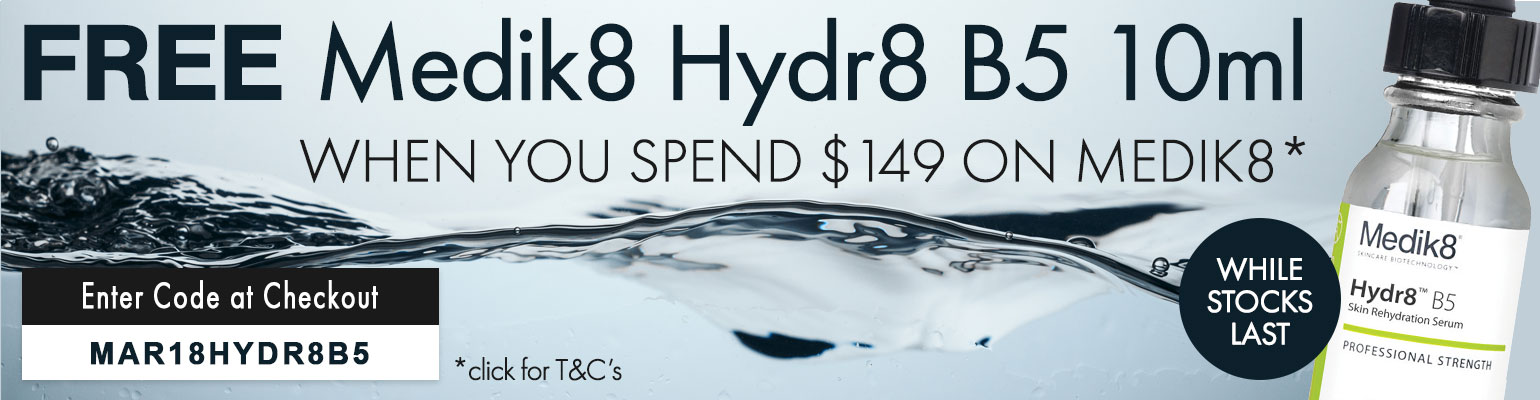 Free Medik8 Hydra8 B5 10ml when you spend $149 on Medik8