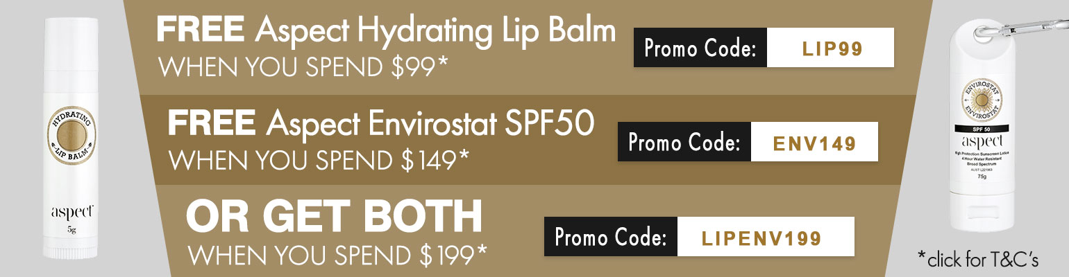 FREE Aspect Hydrating Lip Balm OR FREE Aspect Envirostat SPF50 OR BOTH