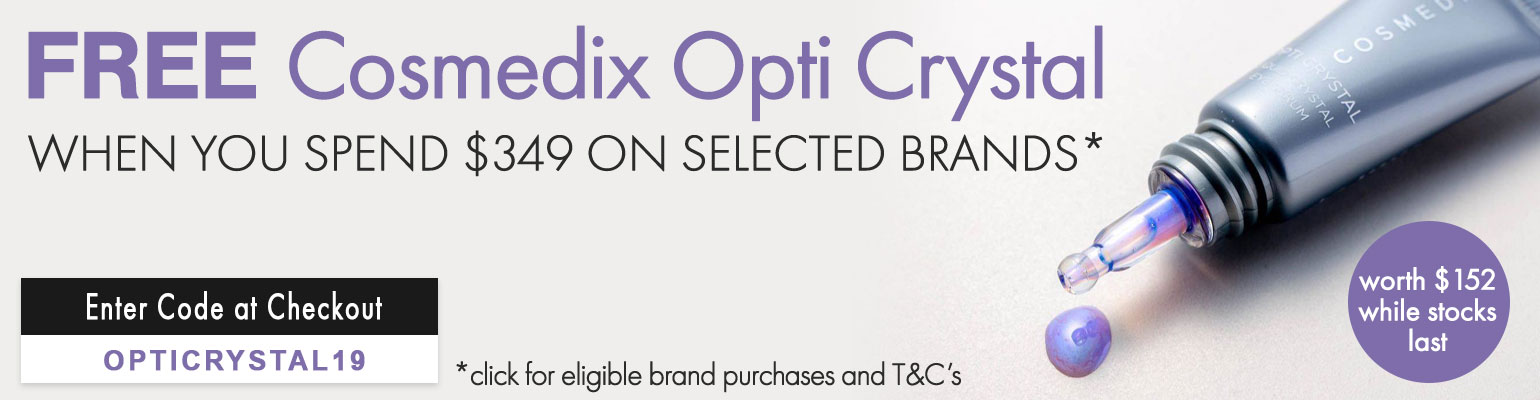 FREE Cosmedix OptiCrystal worth $152 when you spend $349 on specific brands