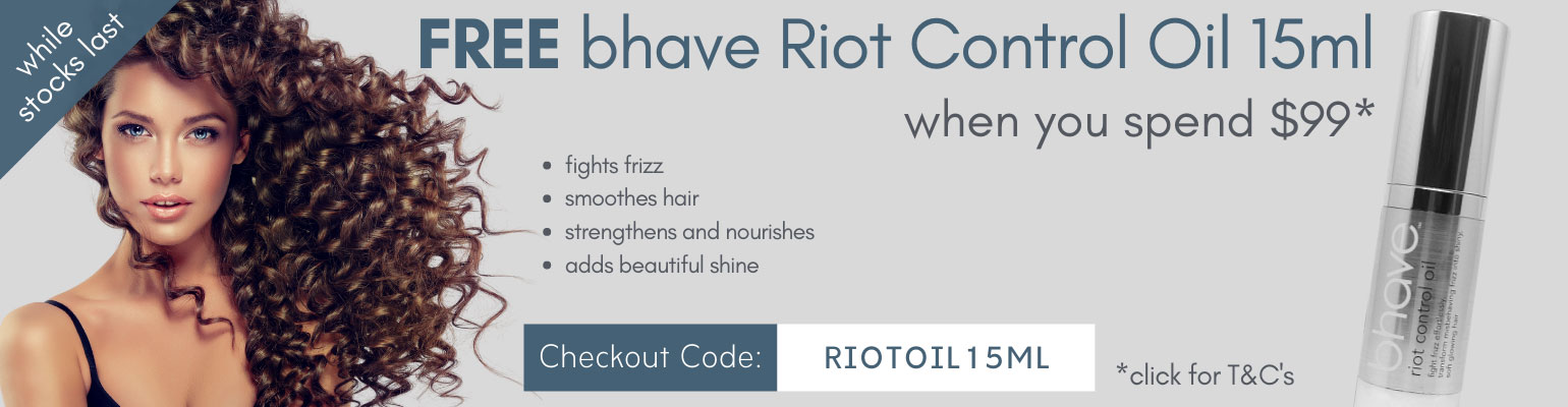 Free bhave Riot Control Oil 15ml when you spend $99
