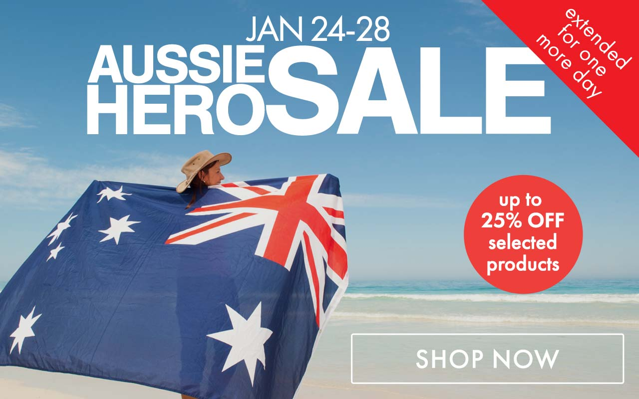 Aussie Hero Sale. Ends 28 January 2020