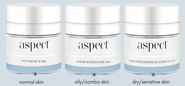 FREE Aspect Phytostat 9 50g or Aspect Sheer Hydration 50g or Aspect Super Moisturising Complex 50g when you spend $299 on selected brands