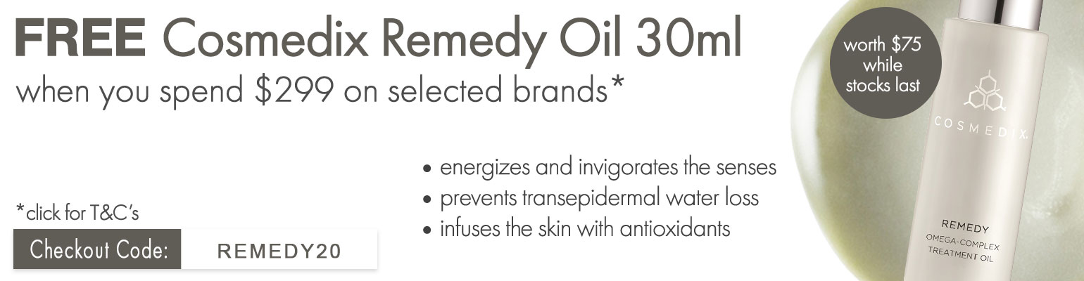 Free Cosmedix Remedy 30ml when you spend $299 on selected brands