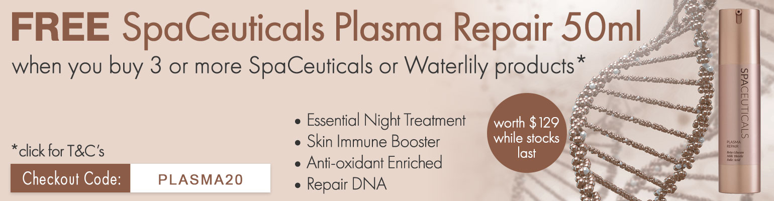 FREE SpaCeuticals Plasma Repair 50ml worth $129 when you purchase 3 or more SpaCeutical or Waterlily products