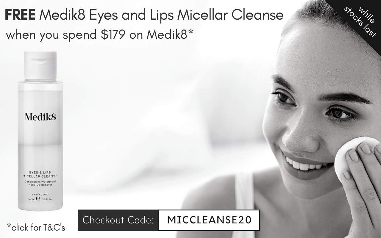 FREE Medik8 Eyes and Lips Micellar Cleanse 100ml when you spend $179 on Medik8