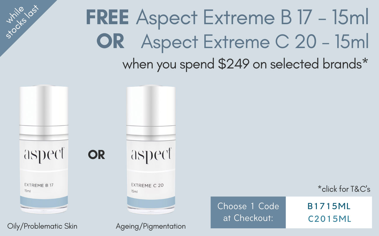 FREE Aspect Extreme B 17 15ml (worth $74) or Aspect Extreme C 20 15ml (worth $74) when you spend $249 on selected brands