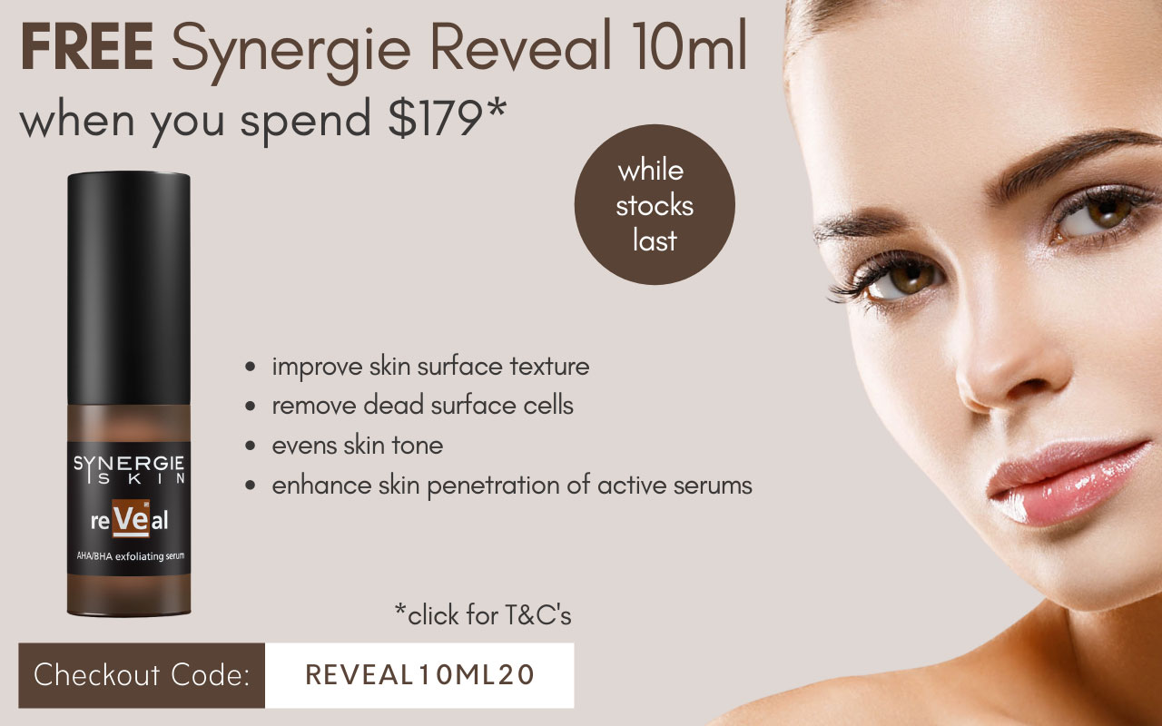 Free Synergie Reveal 10ml when you spend $179