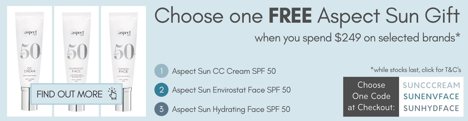 Choose one Free Aspect Sun Gift when you spend $249 on selected brands